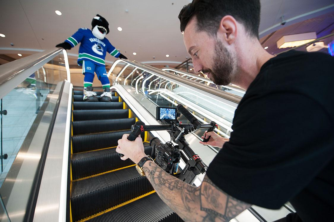 Video production company in Delta films TV commercial for the Vancouver Canucks